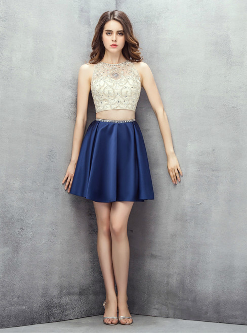 Navy Blue Two Piece Knee Length Satin Homecoming Dress