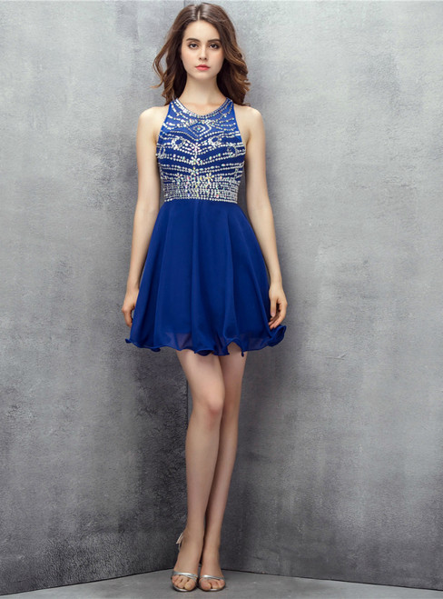 Blue Halter Chiffon With Beading Sequins Homecoming Dress