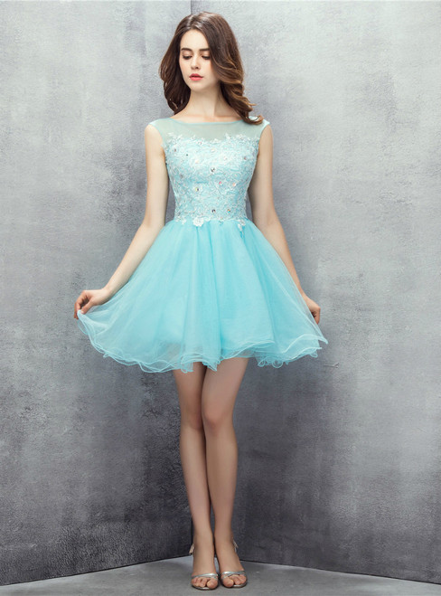 Light Blue Tulle Appliques Backless With Crystal Homecoming Dress