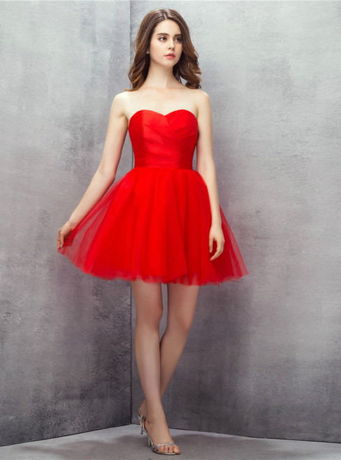 Red Sweetheart Tulle Short Mini Homecoming Dress
