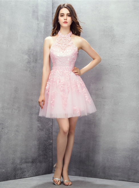 Pink Halter Backless Tulle Appliques Pearls Homecoming Dress