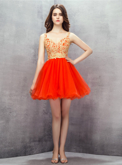 Red Spaghetti Straps Tulle Appliques Backless Homecoming Dress