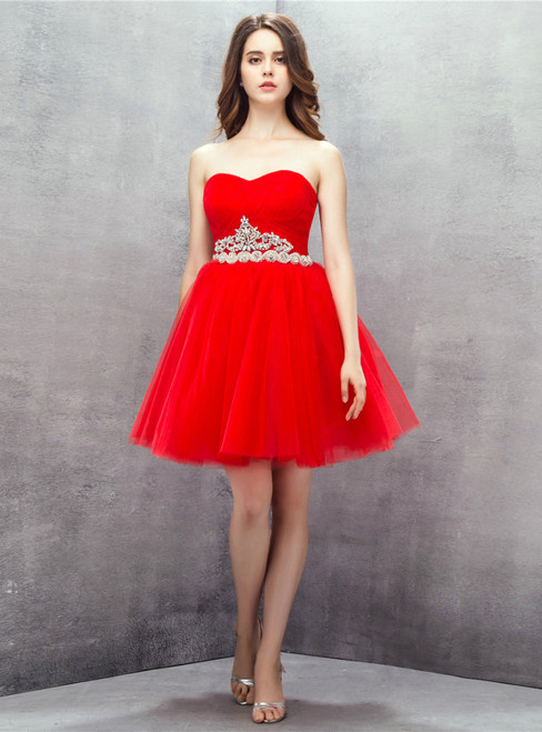Red Sweetheart Tulle Short Homecoming Dress With Crystal