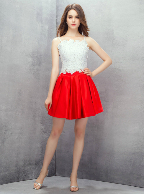 White Lace Red Satin Spaghetti Straps Two Piece Homecoming Dress