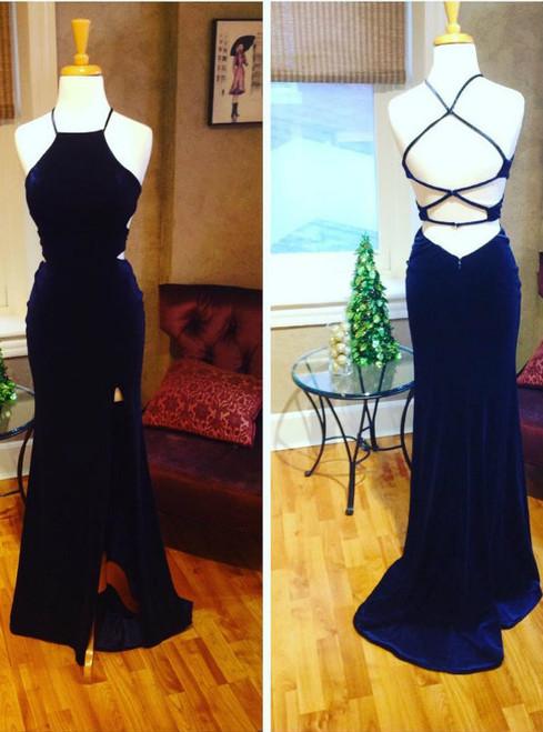 navy blue prom dress,mermaid evening gowns,velvet prom dress