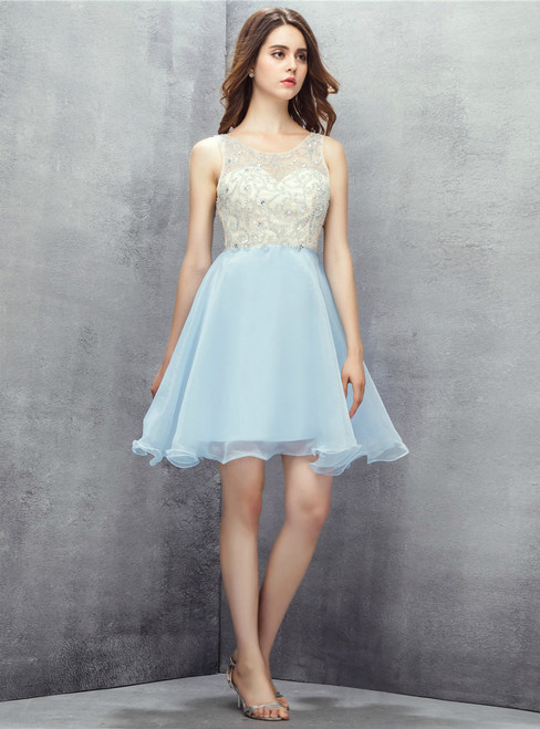 Light Blue Backless With Beading Homecoming Dress