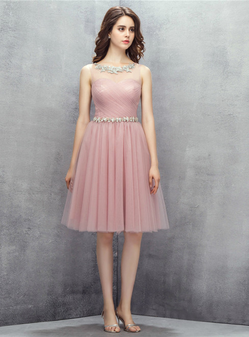 Pink Tulle Knee Length With Pleats Homecoming Dress