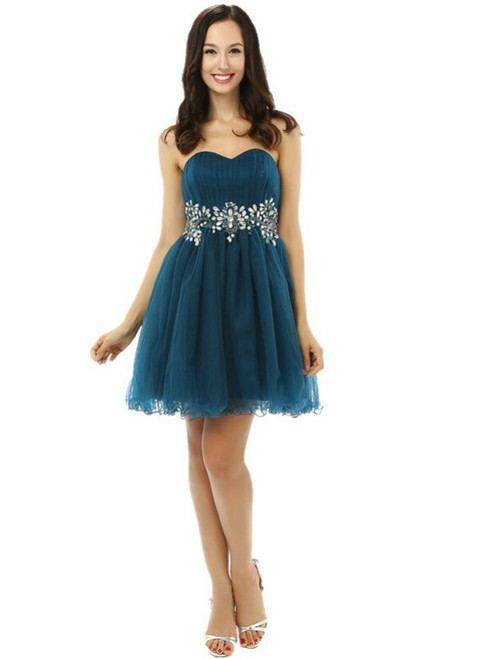 Blue Tulle Sweetheart Homecoming Dress With Crystal