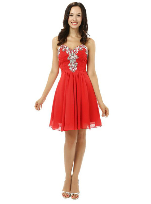 Red Chiffon Sweetheart Neck Crystal Homecoming Dress