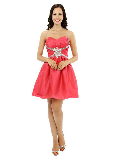 Red Satin Pleats Crystal Sweetheart Neck Homecoming Dress