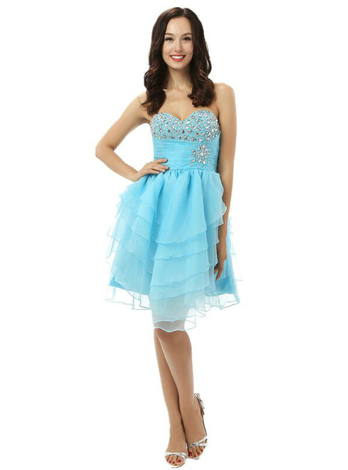Blue Sweetheart Neck Chiffon Beading Homecoming Dress