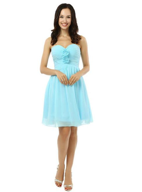 Simple Light Blue Chiffon Sweetheart With Pleats Homecoming Dress