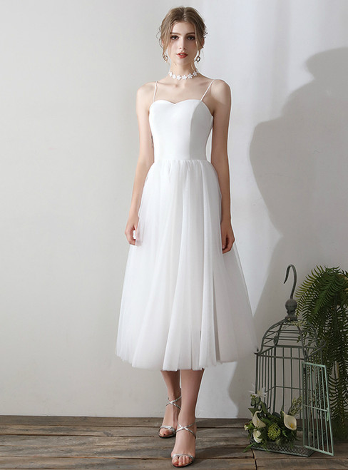 In Stock:Ship in 48 hours White Spaghetti Straps Tulle Wedding Dress