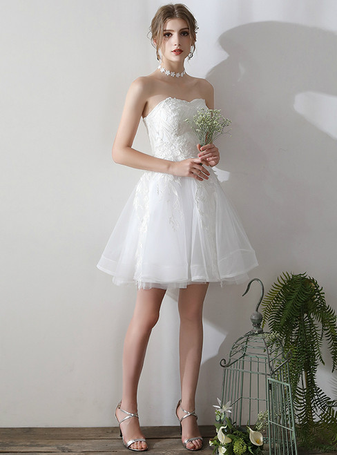 In Stock:Ship in 48 hours Short Mini Tulle Wedding Dress