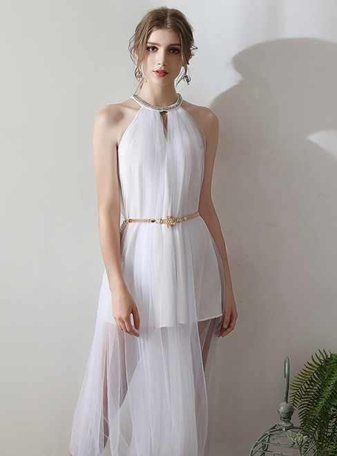 In Stock:Ship in 48 hours Simple Halter Tulle Wedding Dress