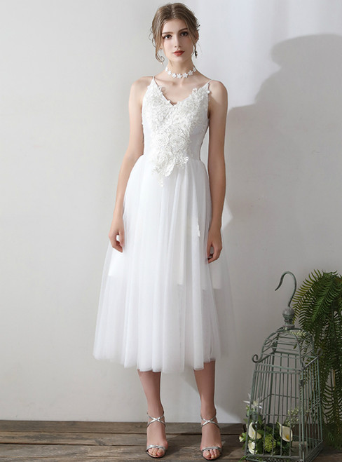 In Stock:Ship in 48 hours Spaghetti Straps Tulle Backless Wedding Dress