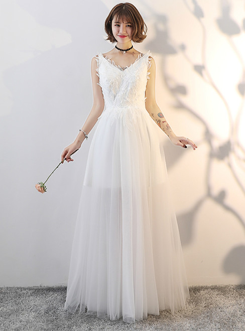 In Stock:Ship in 48 hours Tulle Backless Floor Length Wedding Dress