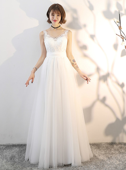 In Stock:Ship in 48 hours V-neck Tulle Backless Wedding Dress