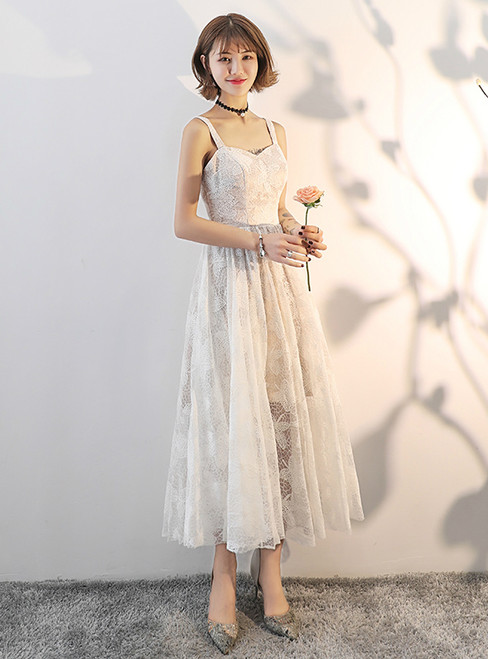 In Stock:Ship in 48 hours Lace Ankle Length Spaghetti Straps Wedding Dress