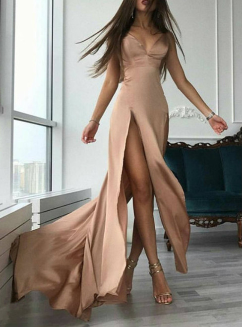 long party dress,champagne prom dress,sexy prom dresses 2017