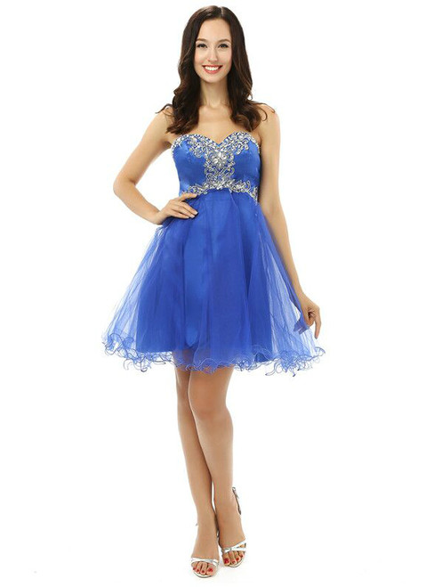 Blue Sweetheart Neck Tulle With Appliques Homecoming Dress