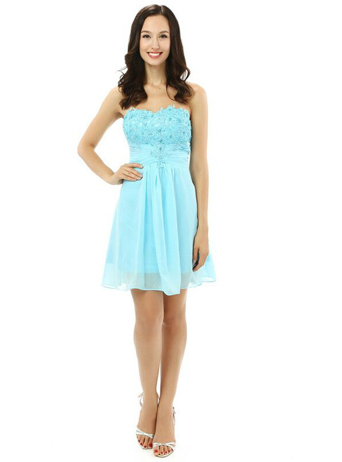Blue Chiffon Lace Sweetheart With Crystal Homecoming Dress