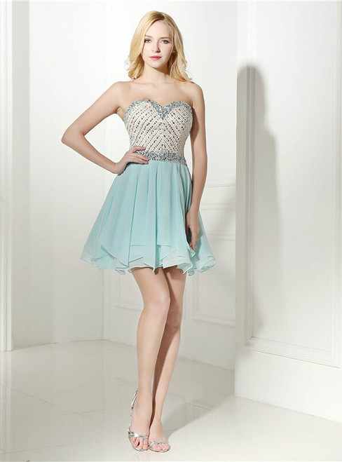 Sweetheart Neck Chiffon Beading Crystal Homecoming Dress