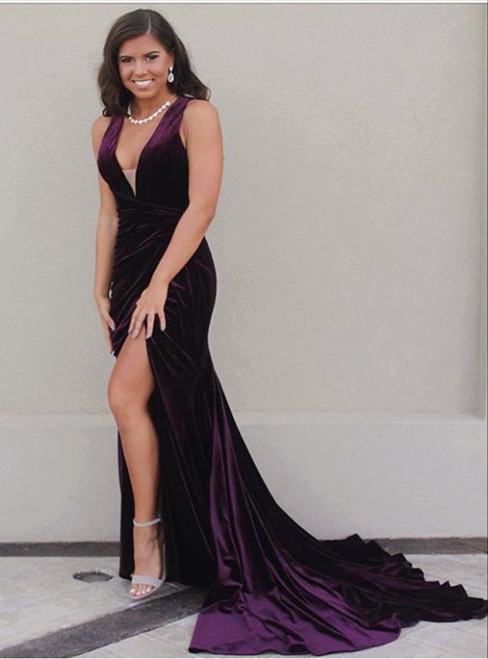 grape prom dress,mermaid prom dress,velvet prom dress