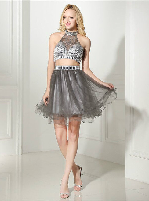 Gray Tulle Two Piece Halter Backless With Crystal Homecoming Dress