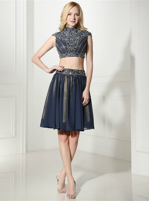 Navy Blue Two Piece Chiffon High Neck Cap Sleeve Homecoming Dress