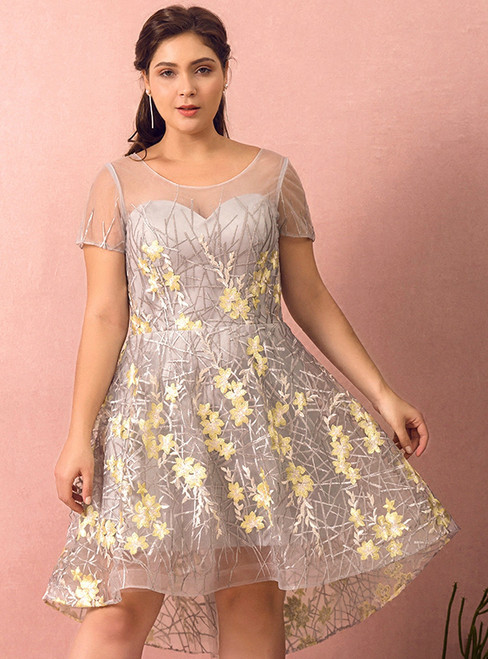 Plus Size Gray Hi Lo Short Sleeve Embroidery Prom Dress