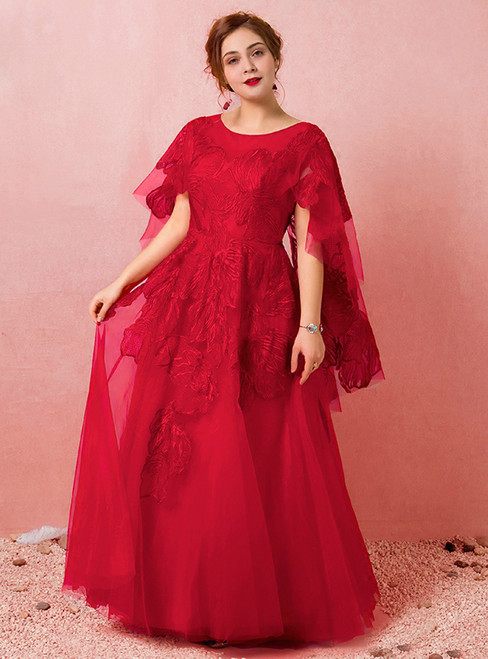 Plus Size Red Tulle Floor Length Scoop Neck Prom Dress
