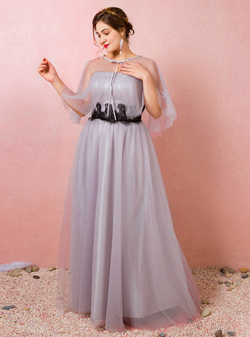 Plus Size Gray Tulle Strapless Floor Length Prom Dress
