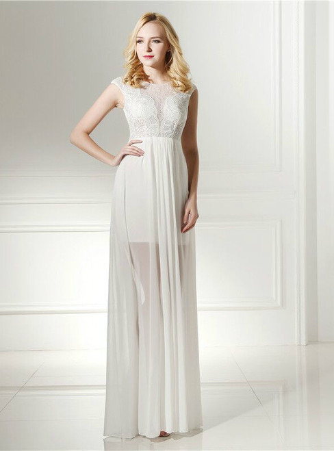 Simple Sexy White Chiffon Lace Cap Sleeve Wedding Dress