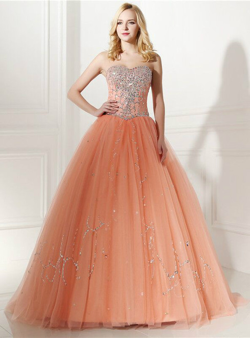 Orange Ball Gown Tulle With Beading Crystal Sweetheart Prom Dress