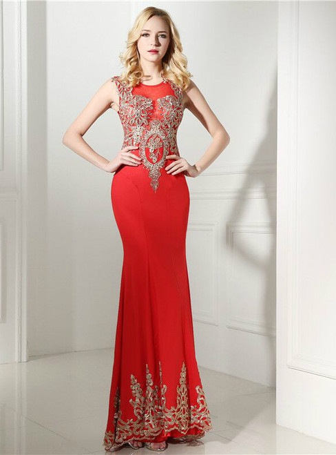 Sexy Red Mermaid Gold Lace Appliques Floor Length  Prom Dress
