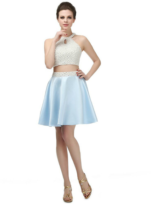 Blue Two Piece Halter Backless Satin With Pearls Homecoming Dress