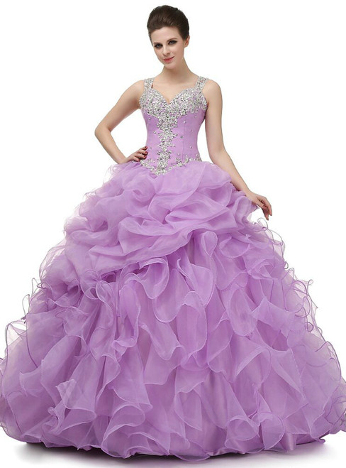 Purple Ball Gown Straps Organza V-neck With Beading Sequins Prom Dress