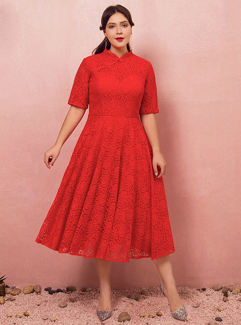 Plus Size Red Lace Short Sleeve Tea Length Prom Dress