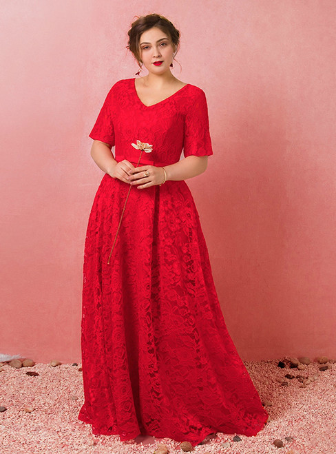 Plus Size Red Lace V-neck Short Sleeve Prom Dress