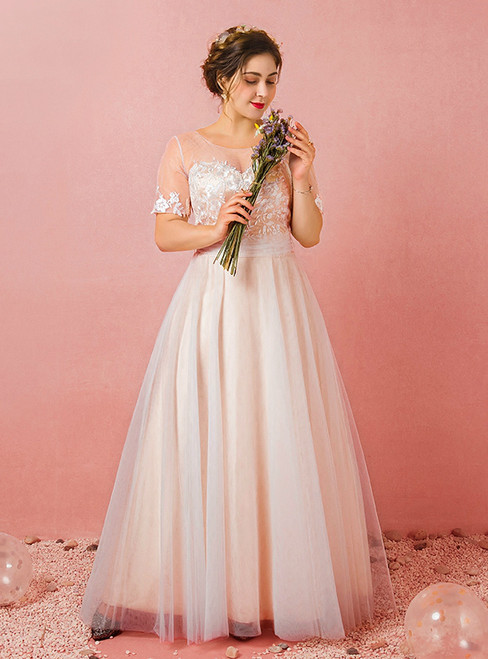Plus Size Champagne Tulle Lace Short Sleeve Prom Dress