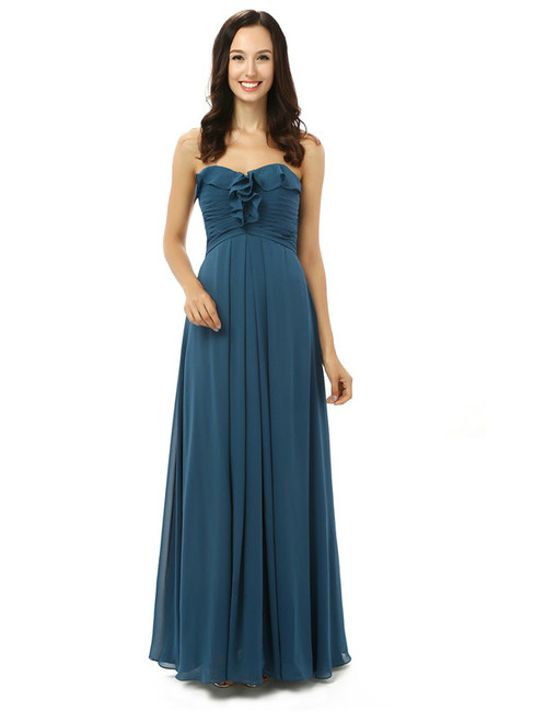 Simple Navy Blue Chiffon Sweetheart Floor Length Bridesmaid Dress