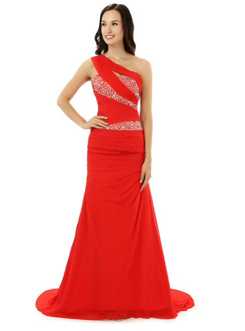 Red One Shoulder Chiffon With Beading Sequins Bridesmaid Dress