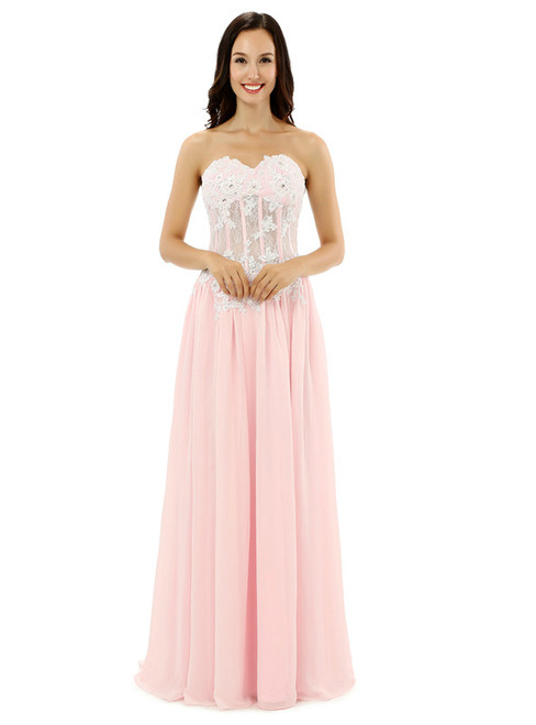 Sexy Pink Sweetheart Chiffon Lace Appliques Bridesmaid Dress