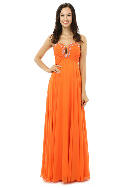 Orange Chiffon Cut Out Sweetheart With Pleats Bridesmaid Dress