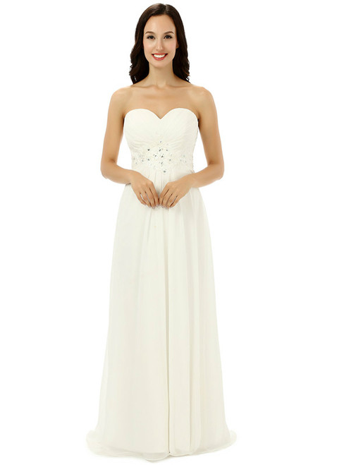White Chiffon Sweetheart With Pleats Beading Bridesmaid Dress