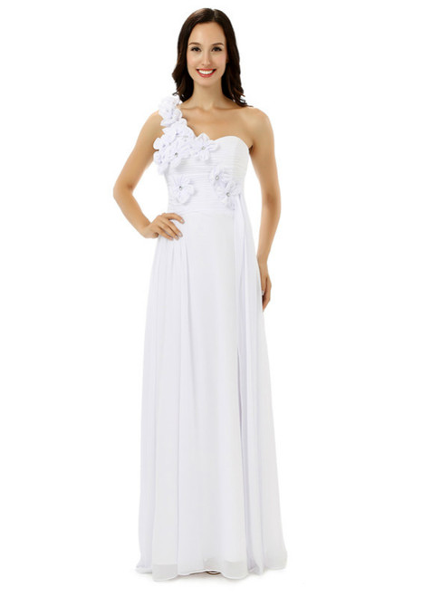 White Chiffon One Shoulder Flower Pleats Bridesmaid Dress