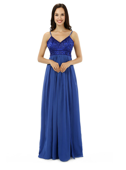Blue Chiffon Spaghetti Straps Backless With Beading Bridesmaid Dress