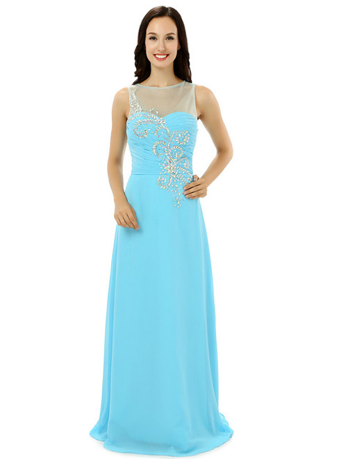Sexy Blue Chiffon Pleats With Crystal Floor Length Bridesmaid Dress