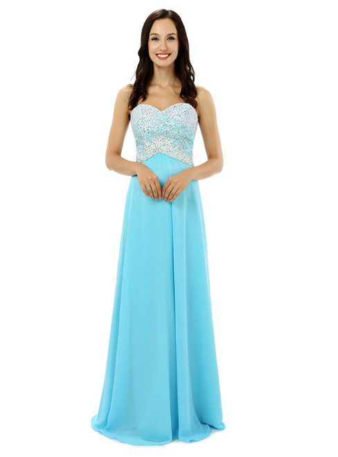 Blue Chiffon Sweetheart Neck With Beading Bridesmaid Dress